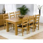 Rustique 180cm Solid Oak Extending Dining Table with Vermont Chairs