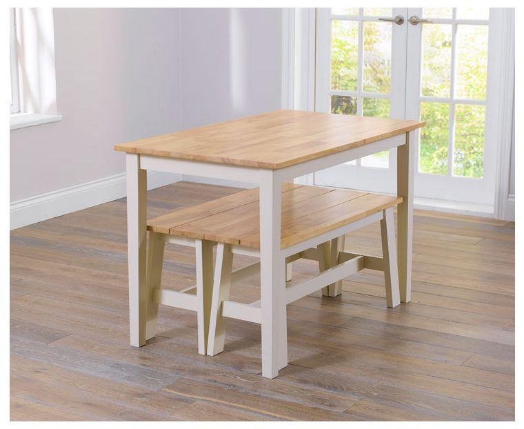 26+ Chiltern 115cm oak and cream dining table and benches Top