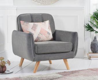 Coby Grey Velvet Armchair