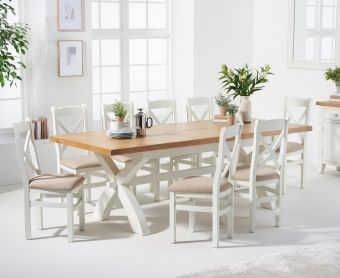 Ellen 160cm Crossed Leg Extending Dining Table with Cross Back Fabric Chairs