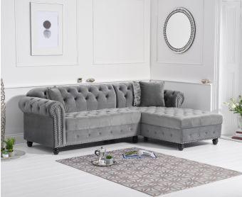 Bree Right Facing Grey Velvet Chaise Sofa