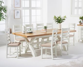 Ellen 160cm Crossed Leg Extending Dining Table with Ladder Back Fabric Chairs