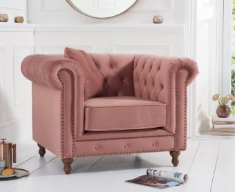 Milano Chesterfield Blush Plush Velvet Armchair
