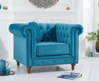 Milano Chesterfield Teal Plush Velvet Armchair