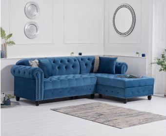 Bree Right Facing Blue Velvet Chaise Sofa