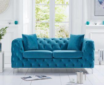 Ariel Teal Plush 2 Seater Sofa