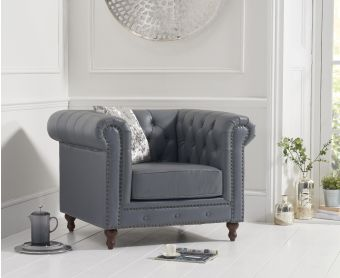 Milano Chesterfield Grey Leather Armchair