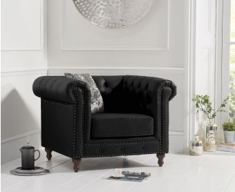 Milano Chesterfield Black Leather Armchair