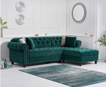 Bree Right Facing Green Velvet Chaise Sofa