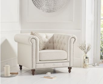 Milano Chesterfield Ivory linen Armchair
