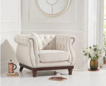 Henbury Chesterfield Ivory Linen Armchair