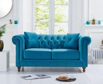Milano Chesterfield Teal Plush Velvet 2 Seater Sofa