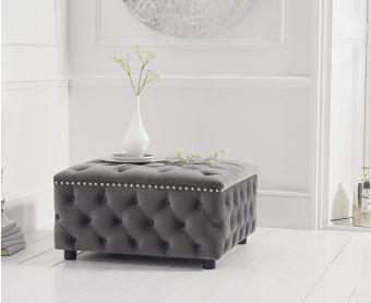 Fusion Grey Velvet Square Footstool