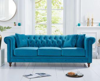 Milano Chesterfield Teal Plush Velvet 3 Seater Sofa