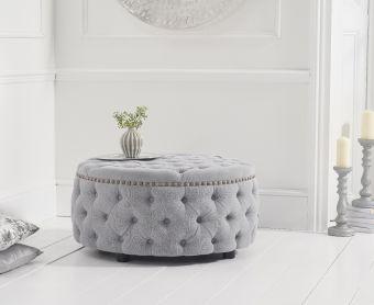 Fusion Grey Linen Round Footstool