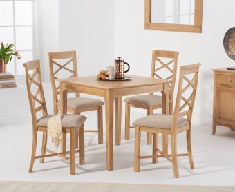 Suri Oak 85cm Table with Cross Back Chairs