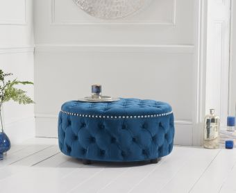 Fusion Blue Velvet Round Footstool