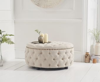 Fusion Cream Linen Round Footstool