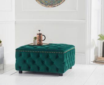 Fusion Green Velvet Square Footstool
