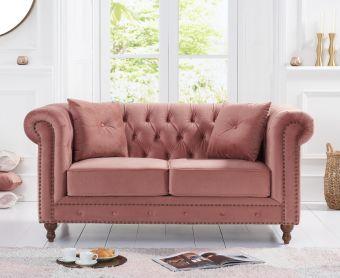 Milano Chesterfield Blush Plush 2 Seater Sofa
