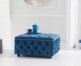 Fusion Blue Velvet Square Footstool
