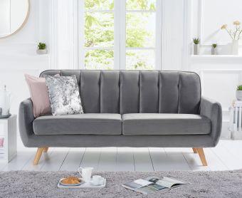 Coby Grey Velvet 3 Seater Sofa