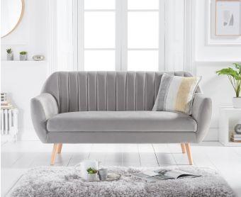 Lima Grey Velvet 3 Seater Sofa