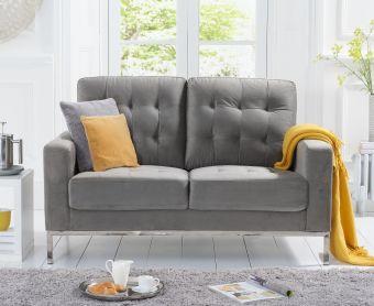 Larma Grey Velvet 2 Seater Sofa