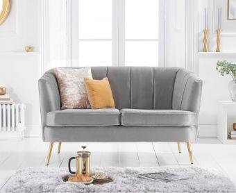 Lucern Grey Velvet 2 Seater Sofa