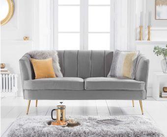 Lucern Grey Velvet 3 Seater Sofa