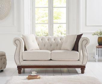 Henbury Chesterfield Ivory linen 2 Seater Sofa