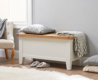 Ellen Oak and White Blanket Box