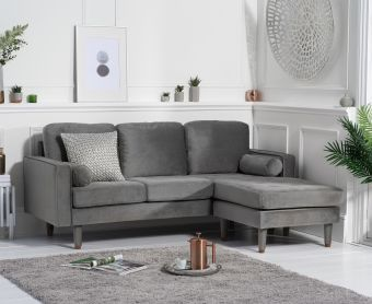 Lucas Grey Velvet 3 Seater Reversible Chaise Sofa