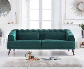 Delilah Green Velvet 3 Seater Sofa