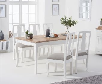 Parisian 175cm Shabby Chic Table with Chairs with Grey Fabric Seats