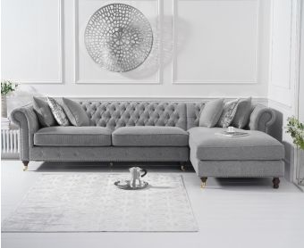 Fusion Grey Linen Right Facing Chesterfield Chaise Sofa