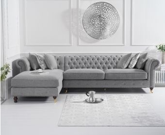Fusion Grey Linen Left Facing Chesterfield Chaise Sofa