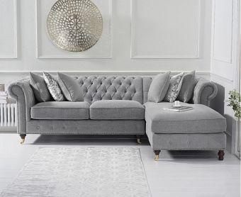 Fusion Medium Grey Linen Right Facing Chesterfield Chaise Sofa