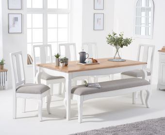 Parisian 175cm Shabby Chic Table with Chairs with Grey Fabric Seats and Bench