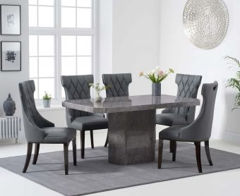 Brandi 160cm Grey Marble Dining Table with Freya Chairs