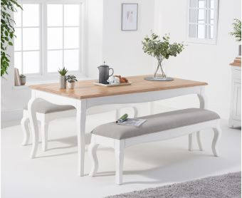 Parisian 175cm Shabby Chic Table with Benches with Grey Fabric Seats