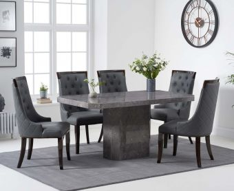 Brandi 160cm Grey Marble Dining Table with Angelica Chairs