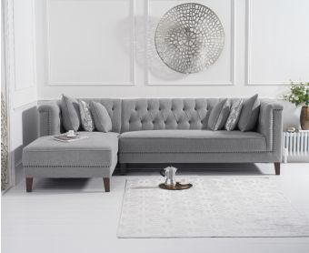 Tammie Grey Linen Left Facing Chaise Sofa