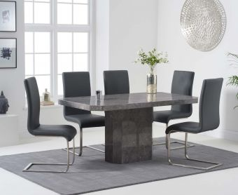 Brandi 160cm Grey Marble Dining Table with Malaga Chairs