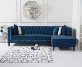 Tammie Blue Velvet Right Facing Chaise Sofa