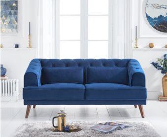 Delilah Blue Velvet 2 Seater Sofa