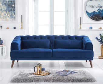 Delilah Blue Velvet 3 Seater Sofa