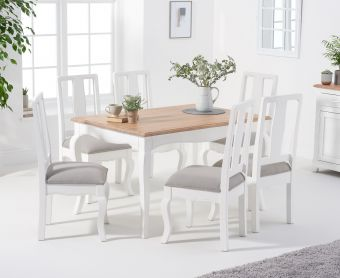 Parisian 130cm Shabby Chic Table with Chairs with Grey Fabric Seats