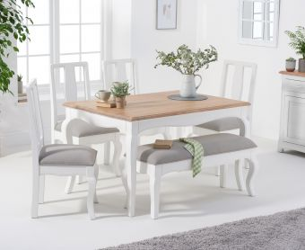 Parisian 130cm Shabby Chic Table with Chairs with Grey Fabric Seats and Bench