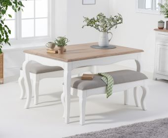Parisian 130cm Shabby Chic Table with Benches with Grey Fabric Seats